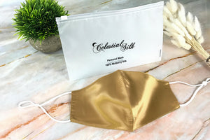 gold silk face mask silk face mask gold silk face covering with carrying bag