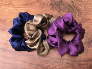 plum navy taupe silk scrunchies mulberry silk scrunchies for hair