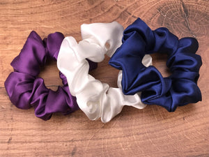 plum navy blue white silk scrunchies mulberry silk scrunchies for hair