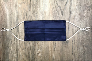 navy blue silk face mask pleated navy silk face covering pure silk face mask