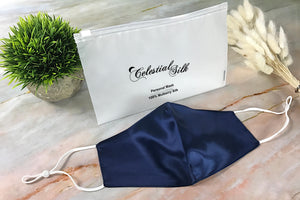 navy blue silk face mask navy silk face covering pure silk face mask with carrying bag