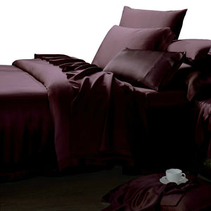 luxury silk sheet bed set plum 22 momme