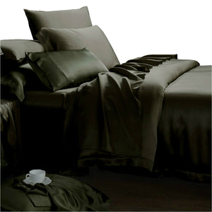 Luxury Bedding 22 Momme Mulberry Silk Sheets Charcoal Gray