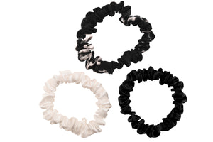 mulberry silk hair ties black marble ivory and black silk scrunchies