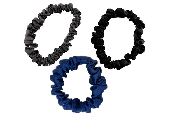 charcoal navy blue black silk scrunchies mulberry silk scrunchies for hair