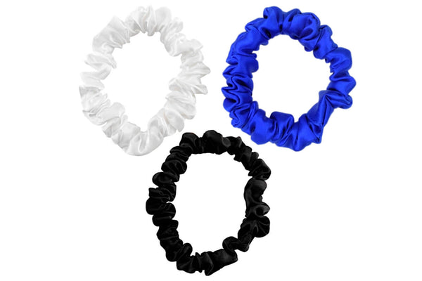 black  blue white silk scrunchies mulberry silk scrunchies for hair