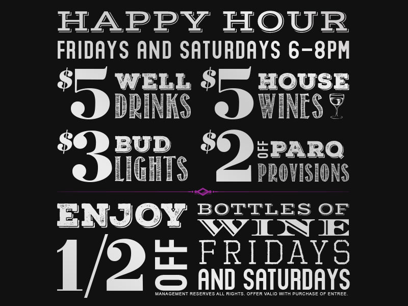 Happy Hour Specials at Parq Restaurant