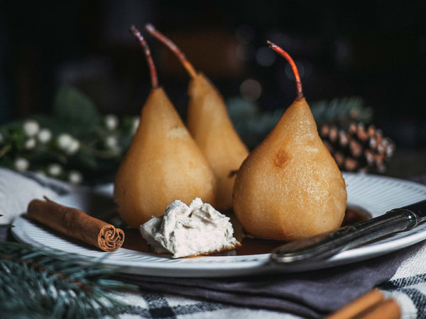 Chai Poached Pears With Coconut Whip