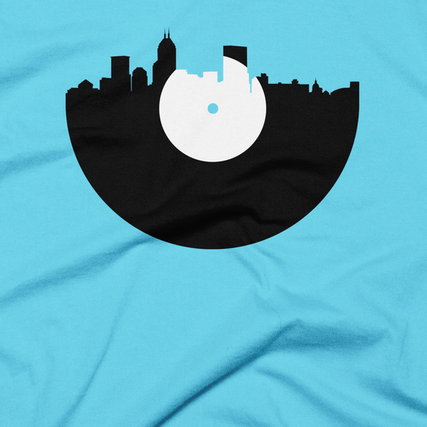 Indianapolis - City Skyline Music Record Design T-Shirt