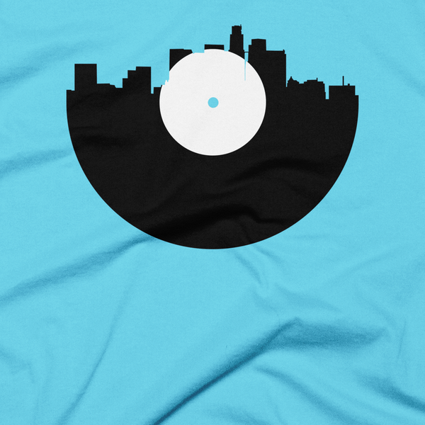 Los Angeles - City Skyline Music Record Design T-Shirt