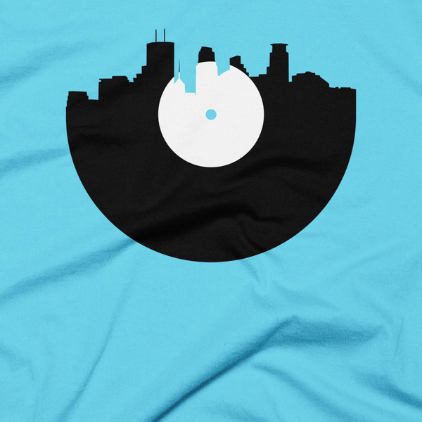 Minneapolis - City Skyline Music Record Design T-Shirt