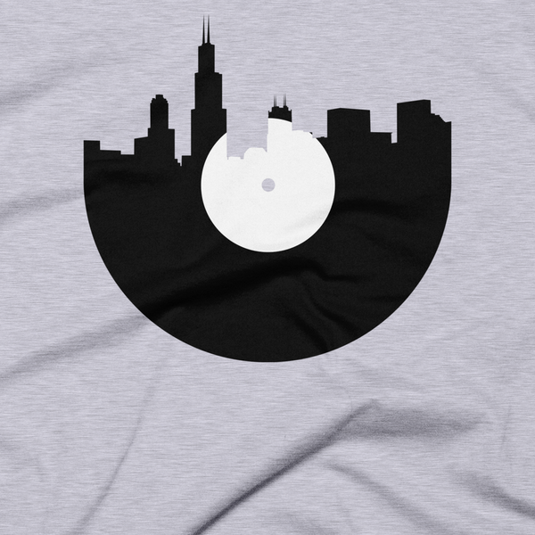 Chicago - City Skyline Music Record Design T-Shirt
