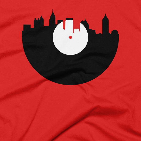 Atlanta - City Skyline Music Record Design T-Shirt