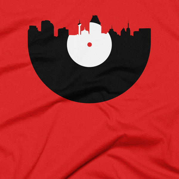 San Antonio - City Skyline Music Record Design T-Shirt