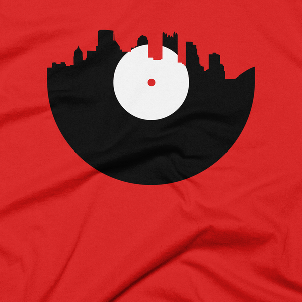 Pittsburgh - City Skyline Music Record Design T-Shirt