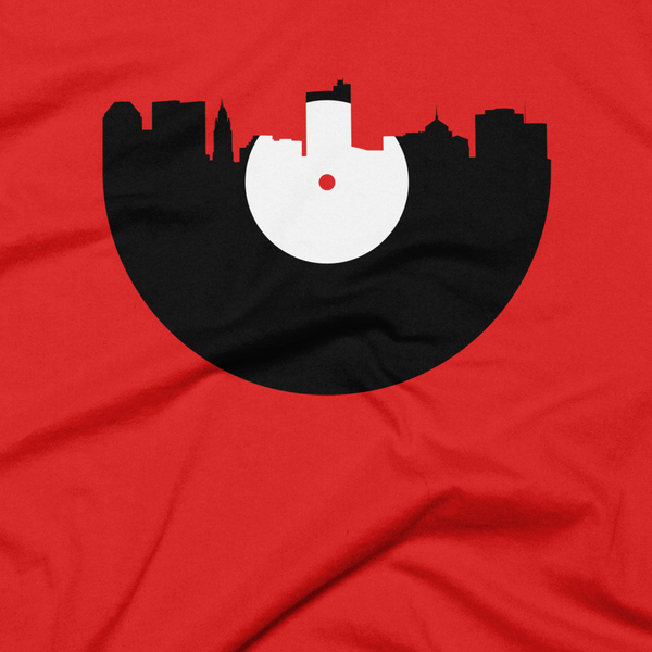 Columbus - City Skyline Music Record Design T-Shirt