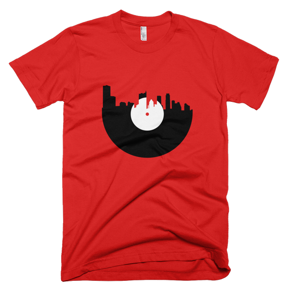 Austin - City Skyline Music Record Design T-Shirt