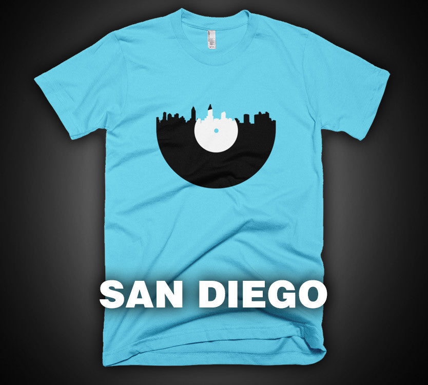 San Diego - City Skyline Music Record Design T-Shirt