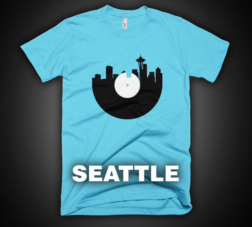 Seattle - City Skyline Music Record Design T-Shirt