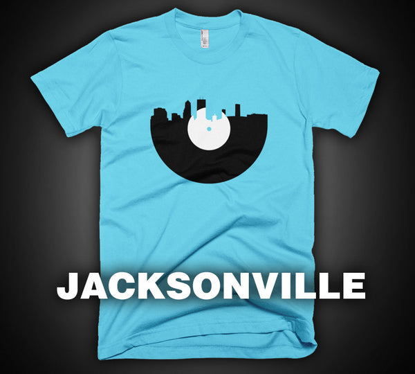 Jacksonville - City Skyline Music Record Design T-Shirt