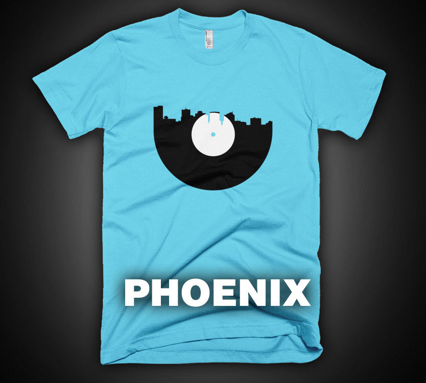 Phoenix - City Skyline Music Record Design T-Shirt