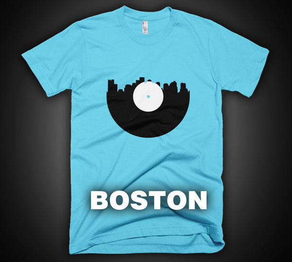 Boston - City Skyline Music Record Design T-Shirt