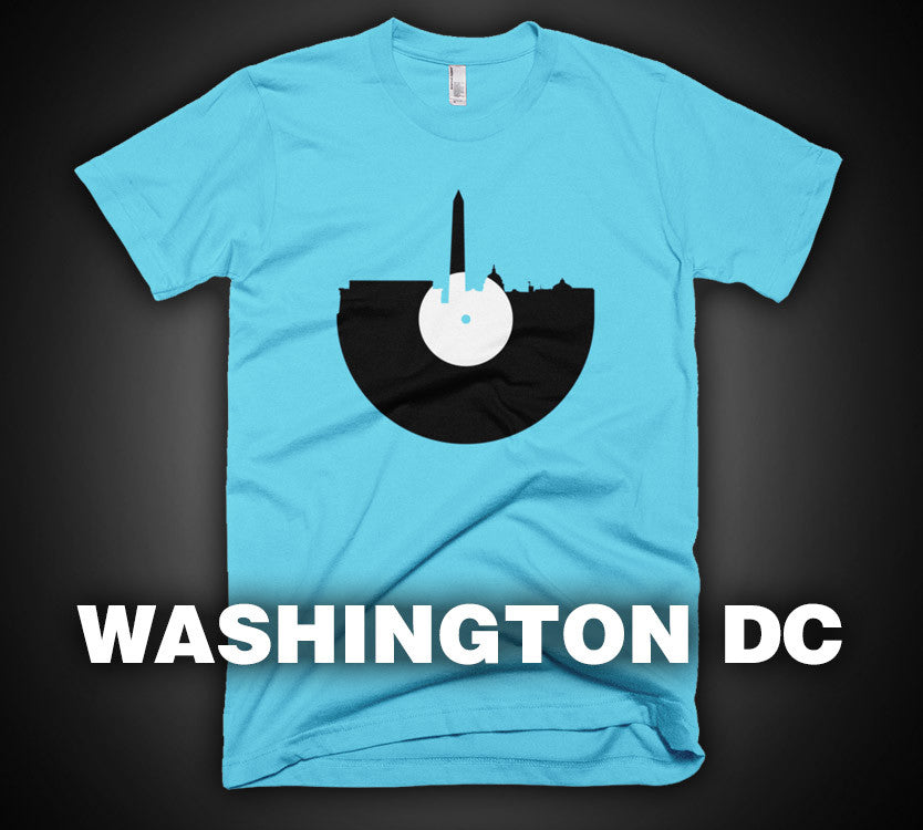 Washington D.C. - City Skyline Music Record Design T-Shirt