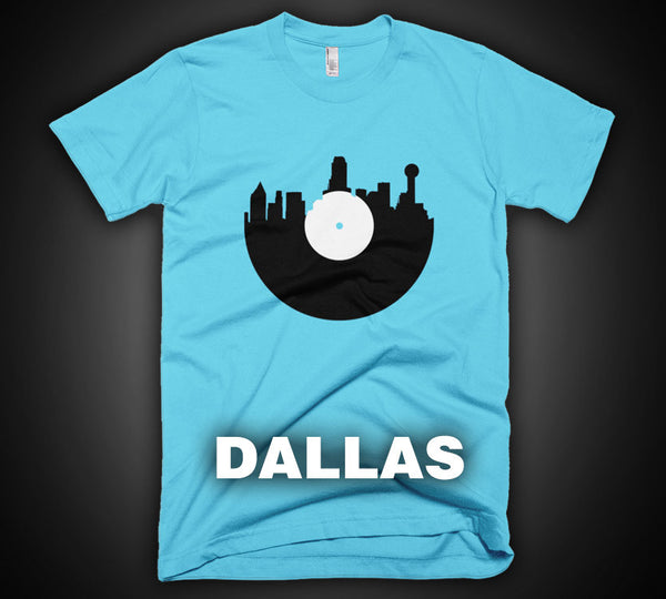 Dallas - City Skyline Music Record Design T-Shirt