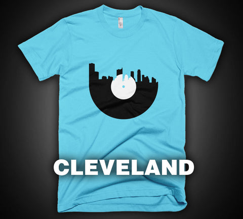 Cleveland - City Skyline Music Record Design T-Shirt