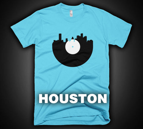 Houston - City Skyline Music Record Design T-Shirt