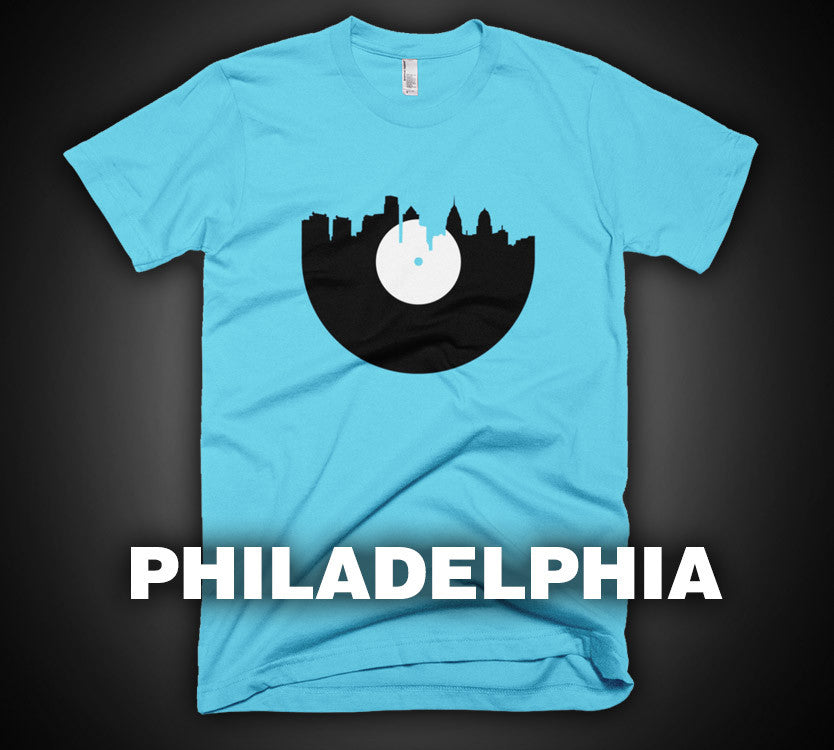 Philadelphia - City Skyline Music Record Design T-Shirt