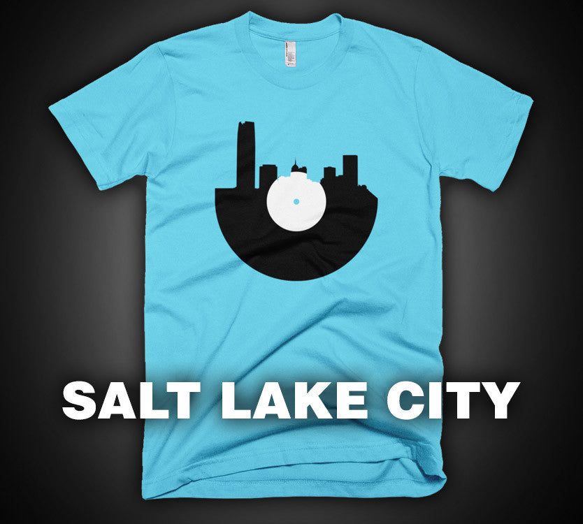 Salt Lake City - City Skyline Music Record Design T-Shirt