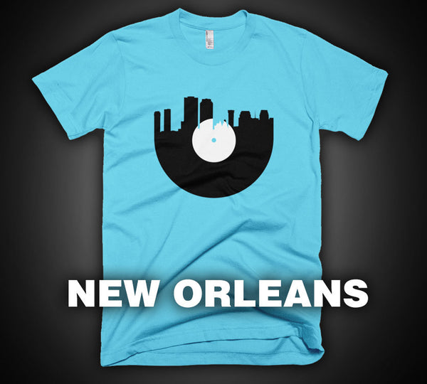 New Orleans - City Skyline Music Record Design T-Shirt
