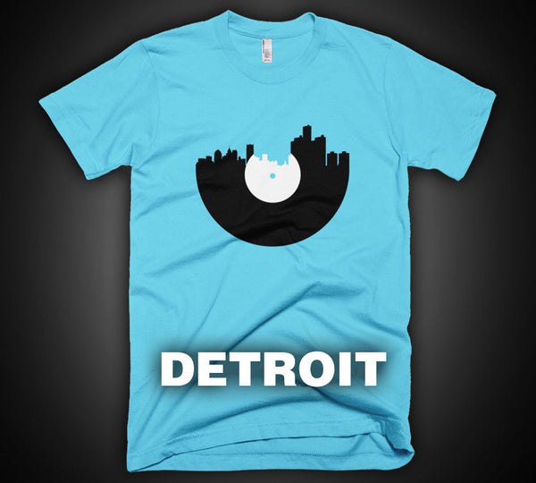 Detroit - City Skyline Music Record Design T-Shirt