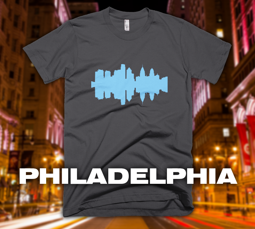 Philadelphia - City Skyline Audio Wave T-Shirt