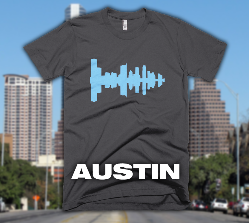 Austin - City Skyline Audio Wave T-Shirt