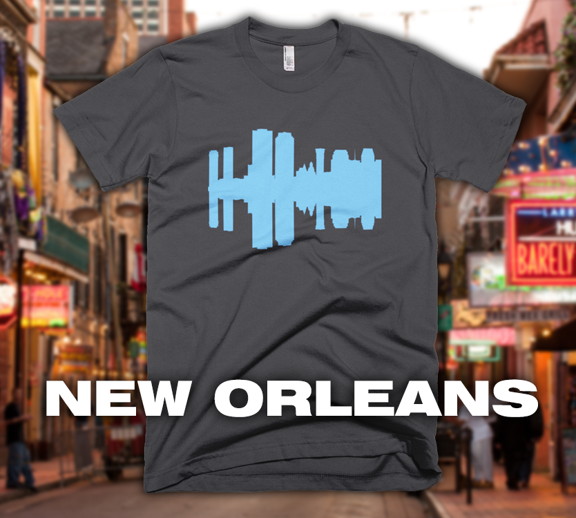 New Orleans - City Skyline Audio Wave T-Shirt