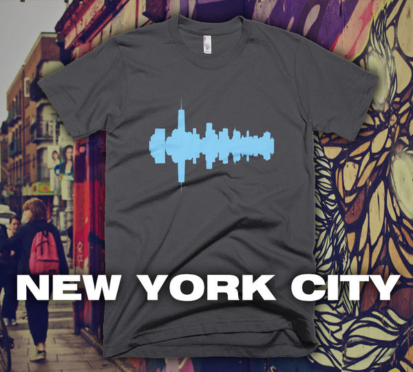 New York City - City Skyline Audio Wave T-Shirt