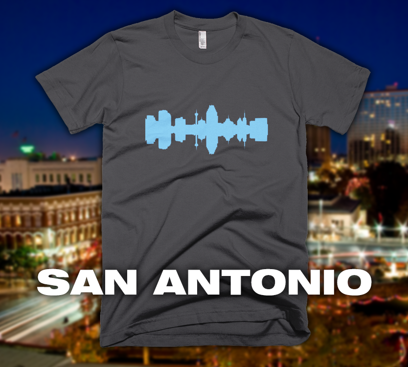 San Antonio - City Skyline Audio Wave T-Shirt