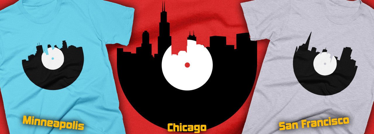 City Skyline Music Record Design T-Shirts - All