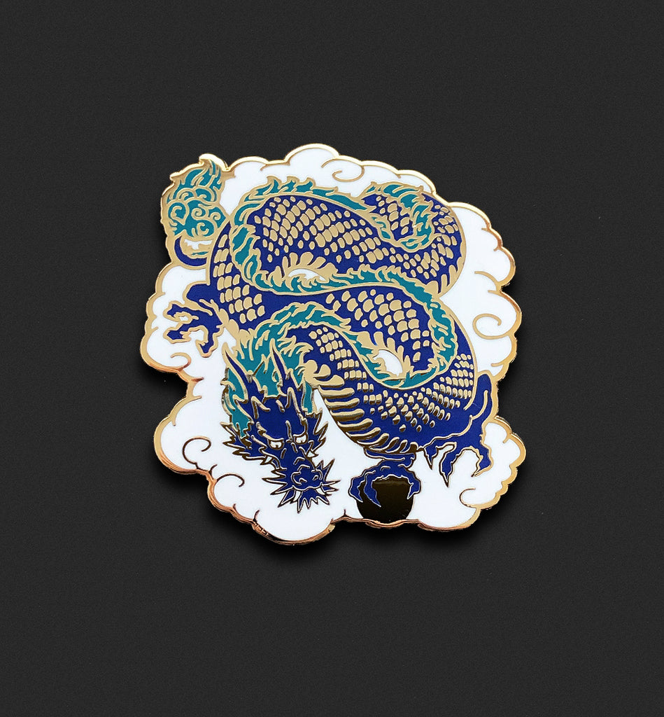 Lucky Dragon Pin - Blue