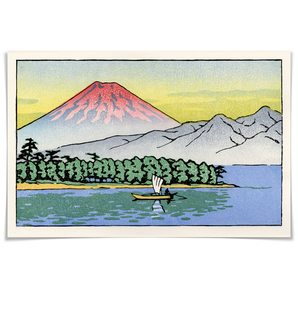 'Mount Fuji at Sunset' Woodblock Print