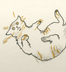 'Cat Falling in Four Poses' Woodblock Print