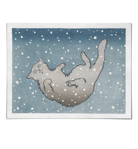 'Cat Falling in Snow' Woodblock Print
