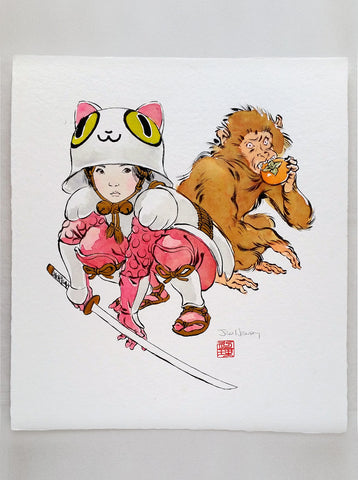 'Girl and Monkey' original Watercolor