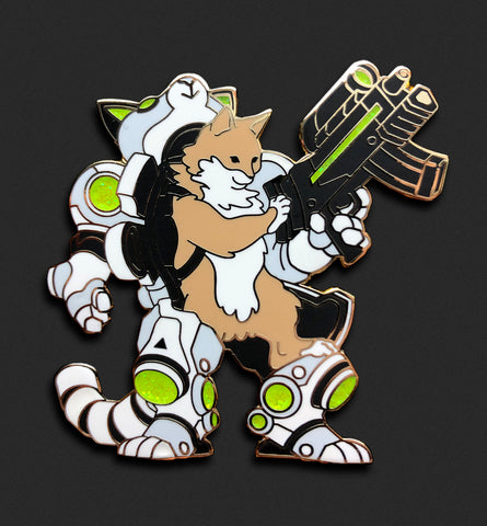 Mecha Cat Pin - White