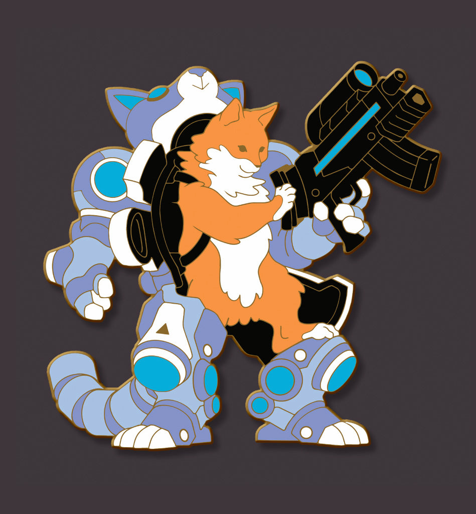 Steel Blue Mecha Cat Pin (Limited Edition)