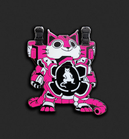 Mecha Cat Pin - Neon Pink