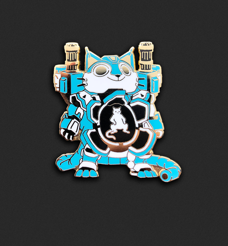 Mecha Cat Pin - Sky Blue