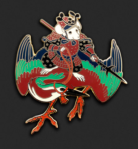Mouse Heron-Rider Pin